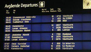 Gothenburg Central Station - Departures in the morning