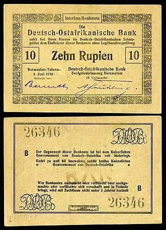 German East African rupie - Image: GEA 41 Deutsch Ostafrikanische Bank 10 Rupien (1916)