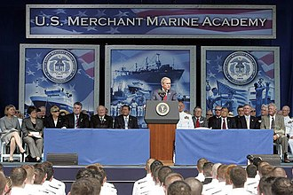 United States Merchant Marine Academy - George W. Bush delivering the commencement address at the academy.