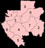 Carte des provinces du Gabon par ordre alphabétique.