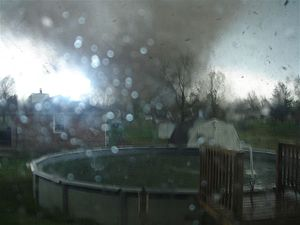 Tornado outbreak of April 6–8, 2006 - Rain-obscured shot of the F3 tornado in Gallatin, Tennessee that killed seven people.