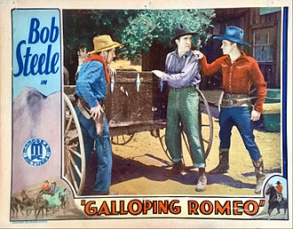 Ernie Adams (actor) - Lobby card for Galloping Romeo (1933) with Ernie Adams at center