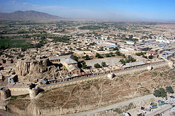Aerial view of a fort in Gardez, the capital of Paktia province