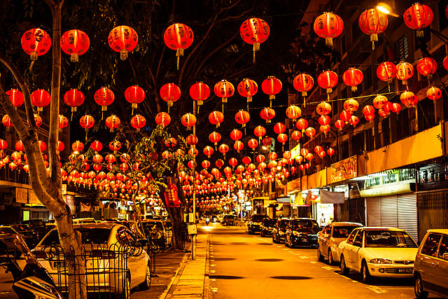 Gaya Street in Kota Kinabalu, Malaysia filled with Chinese lanterns during the New Year celebration. (18 February 2013, 20:36:41)