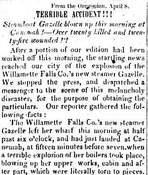 Canemah, Oregon - Newspaper story on explosion of ''Gazelle''