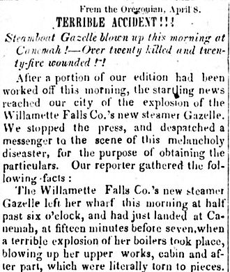 Canemah, Oregon - Newspaper story on explosion of Gazelle