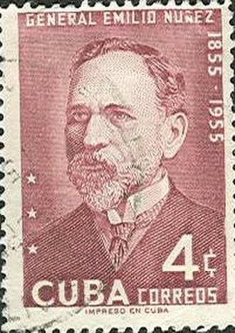 Emilio Núñez - Postage stamp issued in Cuba in 1955 on General Emilio Núñez.