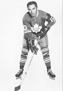 Armstrong poses for a photographer while wearing his full Maple Leafs uniform.