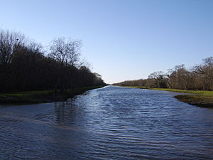 George Bush Park - Looking westward on a man-made bayou in the park
