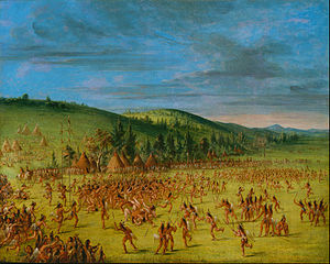 "History of lacrosse - ""An Indian Ball-Play"" by George Catlin, circa 1846-1850, Choctaw Indians. Native American ball games often involved hundreds of players."