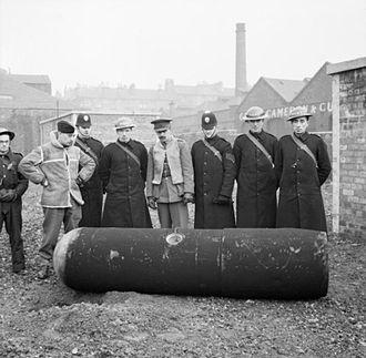Clydebank Blitz - A defused German 1000 kg Luftmine (Parachute mine). Glasgow, 18 March 1941