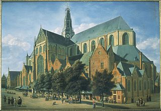 View of the Haarlem Bavo Church from the Groenmarkt