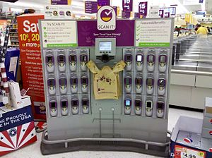 "Self-checkout - ""Scan It"" kiosk at Giant Food store."