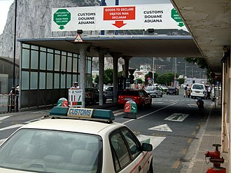 Brexit - Cars crossing into Gibraltar clearing customs formalities. Gibraltar is outside the customs union, VAT area and Schengen Zone.