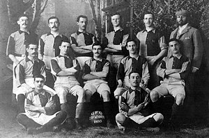 Football in Gibraltar - Winning team of the 1895 Merchants Cup of the Gibraltar Football Club.