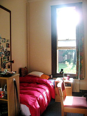Bedroom - An undergraduate's bedroom at Girton College, University of Cambridge