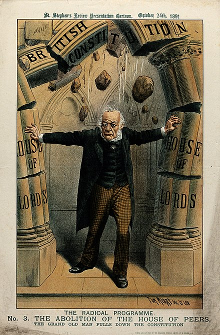 A political cartoon depicting Gladstone as a radical bent on abolishing the House of Lords Gladstone pushing pillars representing the House of Lords Wellcome V0050358.jpg