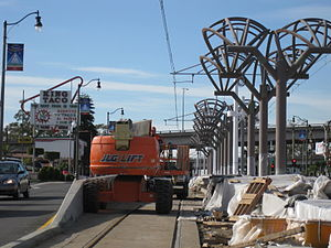 Gold Line (Los Angeles Metro) - Gold Line Maravilla station under construction in December 2008