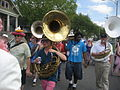 Goodchildren parade three Sousaphones.JPG