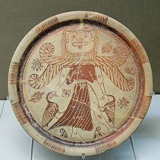Gorgon - Winged goddess with a Gorgon's head, orientalizing plate, c. 600 BC, from Kameiros, Rhodes