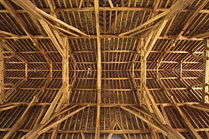 Great Coxwell Barn - The centre of the roof, seen from below