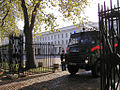 Green Goddess PGW248 about to emerge from Wellington Barracks.jpg