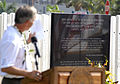 Greg Slavonic, a retired U.S. Navy rear admiral and a member of the USS Oklahoma Memorial executive committee, speaks during a ceremony commemorating the 71st anniversary of the attack on Pearl Harbor in Pearl 121207-N-KT462-223.jpg