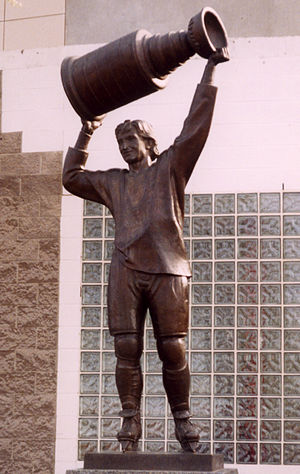 A statue, located outside Rexall Place in Edmo...