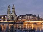 Grossmünster 'Alles hat seine Zeit' - Helmhaus-Wasserkirche - Münsterbrücke - Wühre 2014-11-20 17-06-15 (P7800).JPG
