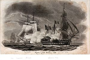 Raking fire - Capture of the William Tell, by Robert Dodd.  British frigate HMS ''Penelope'' raking the French ship of the line ''Guillaume Tell'' in the action of 30 March 1800.