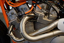 Close-up view of V-twin racing motorcycle engine