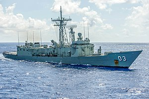 HMAS Sydney (FFG 03) is underway during Pacific Bond 2013