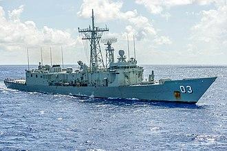 HMAS Sydney (FFG 03) - HMAS Sydney (FFG 03) is underway during Pacific Bond 2013
