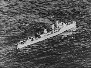 HMS Comet (H00) - Restigouche picking up U-boat survivors, September 1944.