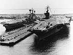 HMS Ark Royal (R09) and USS Nimitz (CVN-68) berthed at Norfolk Naval Base in April 1976.jpg