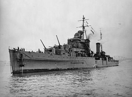 HMS Dido at anchor in the Firth of Forth