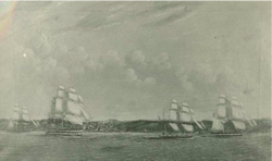 HMS Indus and Squadron leaving Halifax Harbour, 1858.png