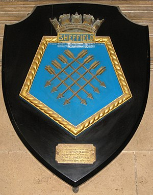Sheffield Town Hall - Image: HMS Sheffield plaque, Sheffield Town Hall