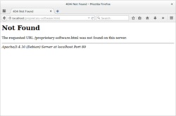 HTTP 404 generated by Apache on Debian displayed in Mozilla Firefox 39 with GNOME.png