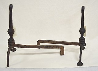 Andiron Support to hold logs in an open fireplace