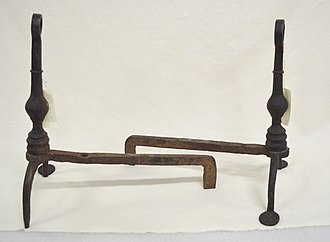 Andiron - A pair of simple wrought iron andirons, 1780s, America