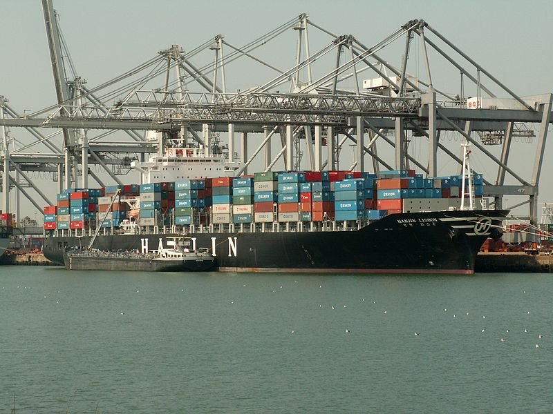 File:Hanjin Lisbon IMO 9248148, at the Amazone harbour, Port of Rotterdam, Holland 04-May-2006.jpg