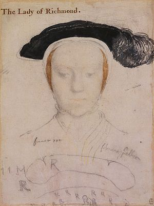 Mary FitzRoy, Duchess of Richmond and Somerset - Sketch of The Duchess of Richmond and Somerset by Hans Holbein the Younger.