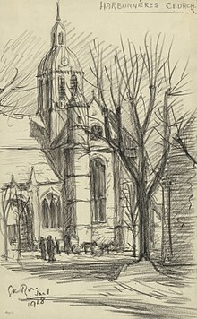 Harbonnieres Church, January 1 1918 Art.IWMART4918.jpg