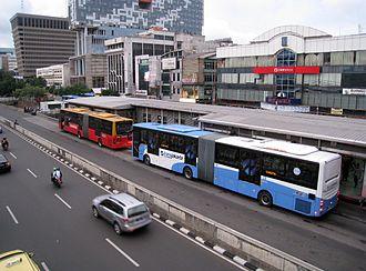 TransJakarta - TransJakarta articulated buses at Harmoni Central Busway
