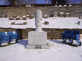 Harry Kalas - Permanent tombstone added to Kalas's grave in 2010 including two pairs of seats from Veterans Stadium, photographed January 10, 2011.