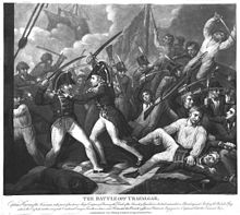 Print of a group of men fighting on the decks of a ship, with swords and guns, two figures in officer's uniforms in the centre in hand to hand combat