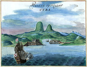 Havana Harbor painting, 1639