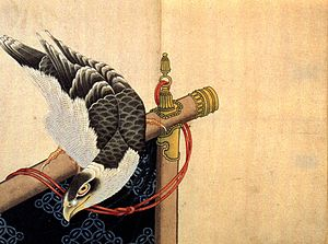 Hatsuyume - Image: Hawk on a ceremonial stand