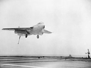 Hawker P1052 landing on HMS Eagle (R05) 1952.jpg